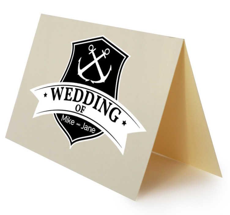 TenStickers. Decoratieve Sailor Muursticker. Aanpasbare bruiloft stickers voor mariene inspiratie waar u de namen van de beloofde kunt schrijven.
