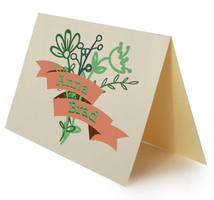 TenStickers. Naklejka ślubna dekoracyjna z kwiatami. Naklejka personalizowana na ślub na której będziesz mógł wpisać wasze imiona.