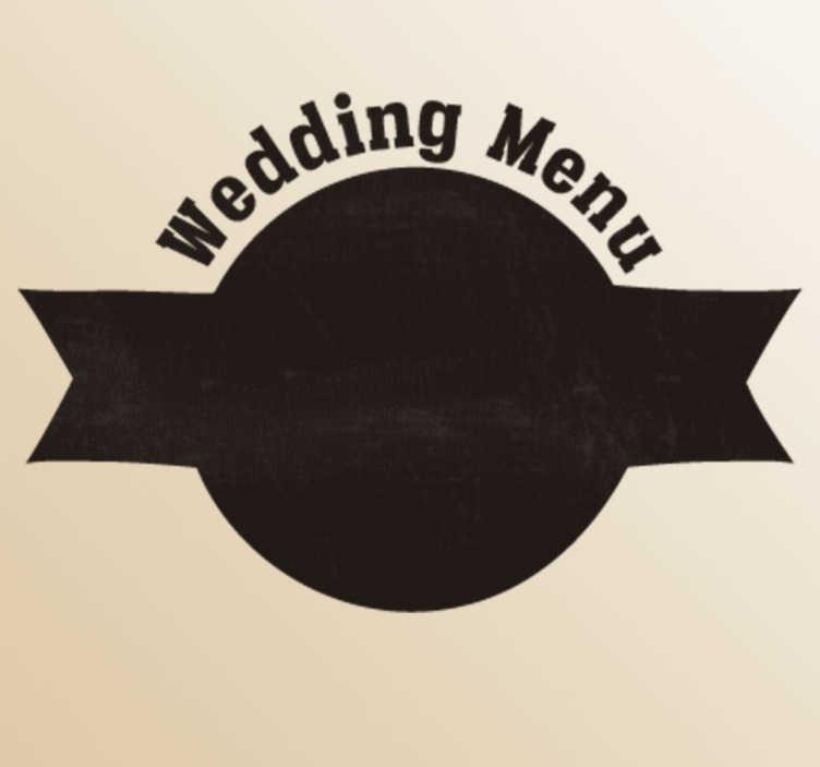 TenStickers. Naklejka ślubna weselne menu. Naklejka ślubna dekoracyjna w formie tablicy abyś mógł wpisać dania,które pojawią się na waszym weselu.