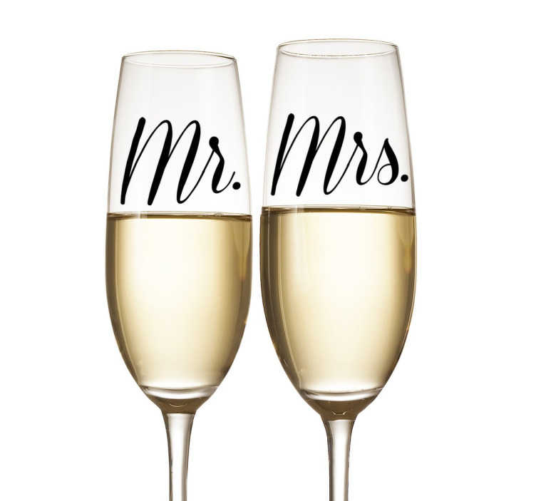 "TenStickers. Wedding Glass Decorative Stickers. These original Mr and Mrs decorative stickers are absolutely perfect for adding a personal touch to your glasses, devices, walls, vehicle and more! Featuring the text ""Mr"" and ""Mrs"" in an elegant and romantic font"