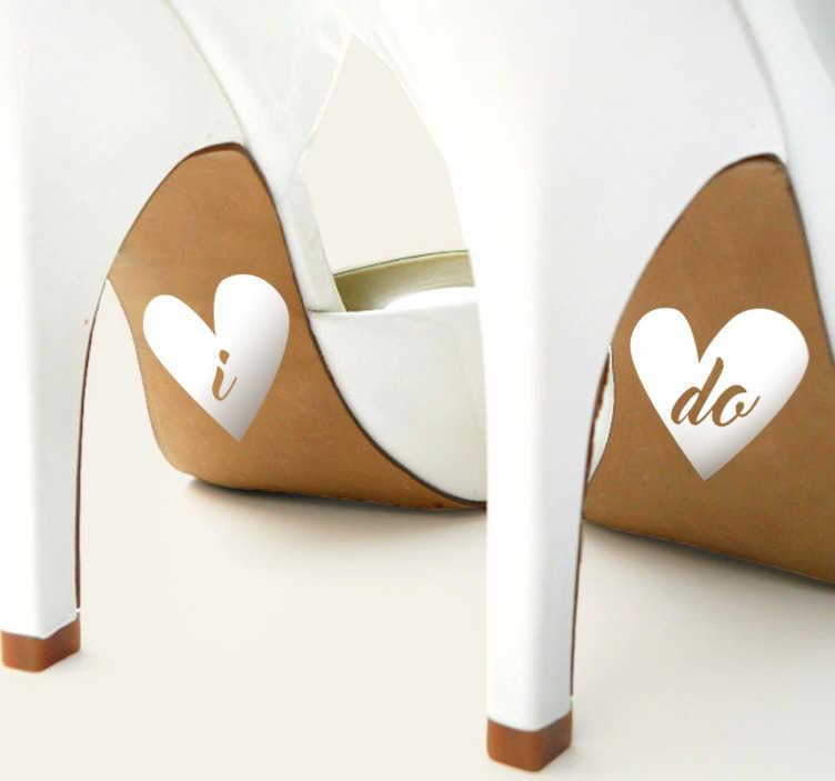 """TenStickers. Adesivo decorativo cuori I do. Adesivi matrimonio per le suole delle scarpe degli sposini. Un elegante dettaglio con i quale darai il """"sì, lo voglio""""."""