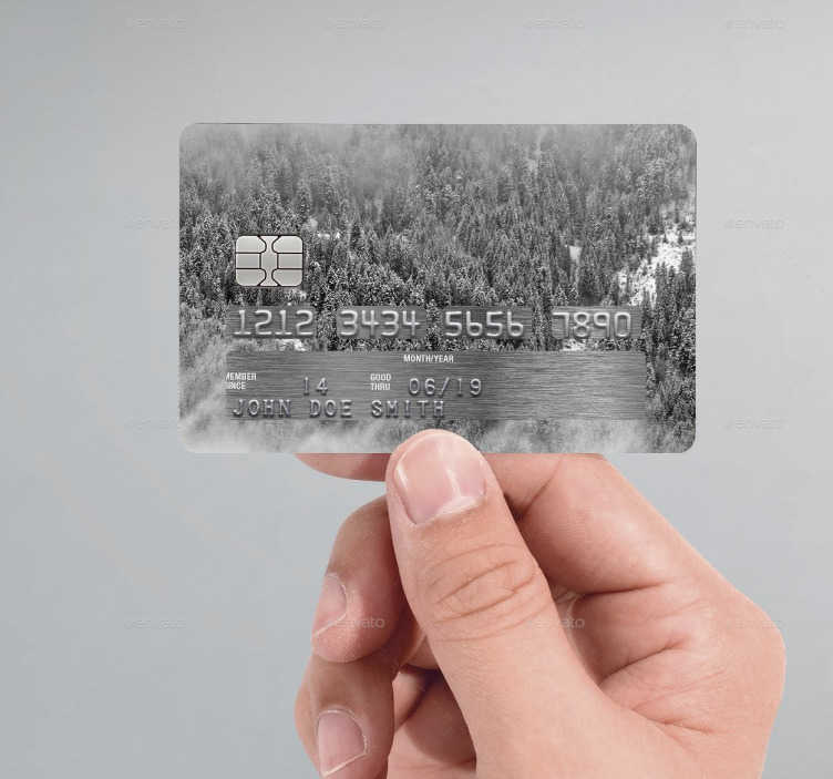 TenVinilo. Vinilo tarjeta de crédito forest. Ahora puedes personalizar tarjeta de crédito con un vinilo que incluye una foto aérea de un paisaje nevado.
