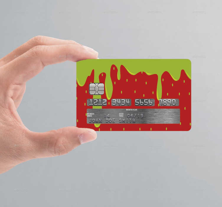 TenStickers. 딸기 신용 카드 스티커. 신용 / 직불 카드를 맞춤 설정할 수있는 독창적이고 독창적 인 방법을 찾고 있다면이 딸기 신용 카드 스티커를 찾아보세요!