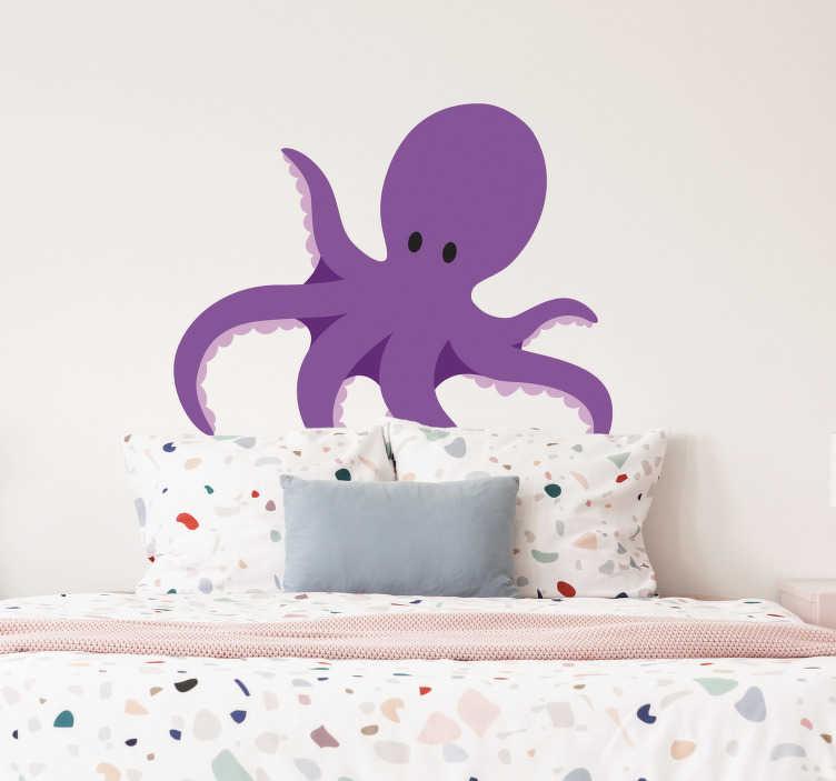 TenStickers. Sticker kinderkamer blauwe octopus sterren. Een leuke wandsticker van een blauwe octopus met acht tentakels omringd door sterren. Een leuke muursticker voor de decoratie van de kinderkamer.