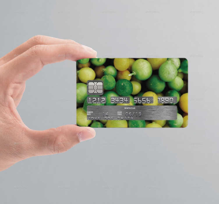 TenStickers. Autocolante cartão de crédito limões. Autocolante para poderes personalizar o cartão de crédito com o vinil cheio de limões. Sticker para personalização e decoração.