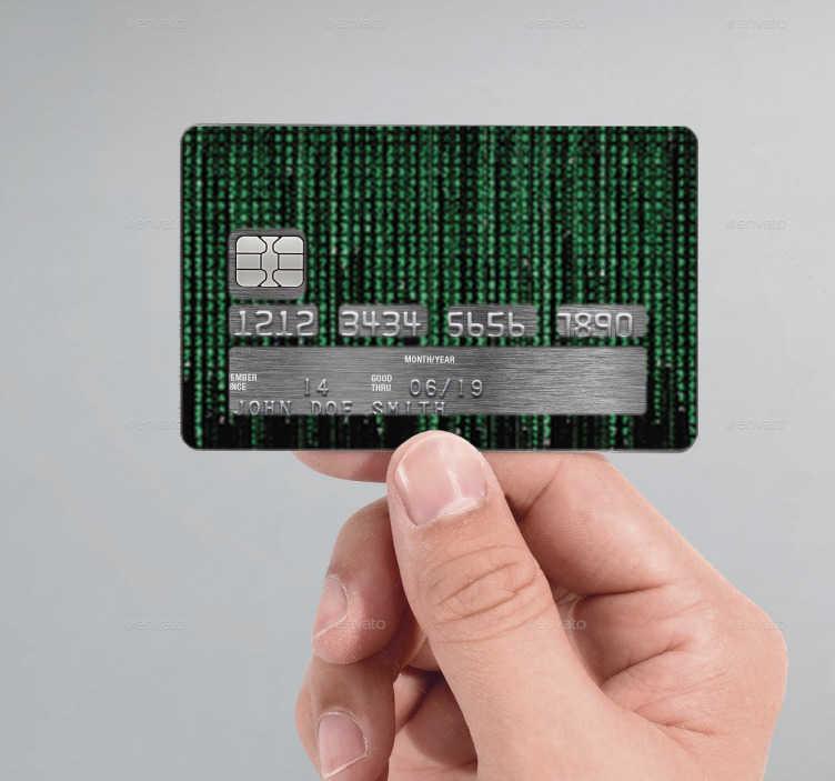 TenVinilo. Vinilo tarjeta de crédito Matrix. Adhesivos para personalizar tu tarjeta de crédito con una textura de código basada en la película de Matrix.