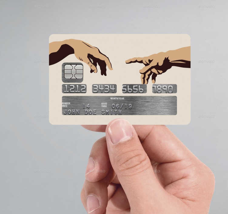 TenStickers. The Creation Of Adam Credit Card Sticker. The Creation of Adam is a painting by Michelangelo, which forms part of the Sistine Chapel's ceiling, painted in 1508–1512.