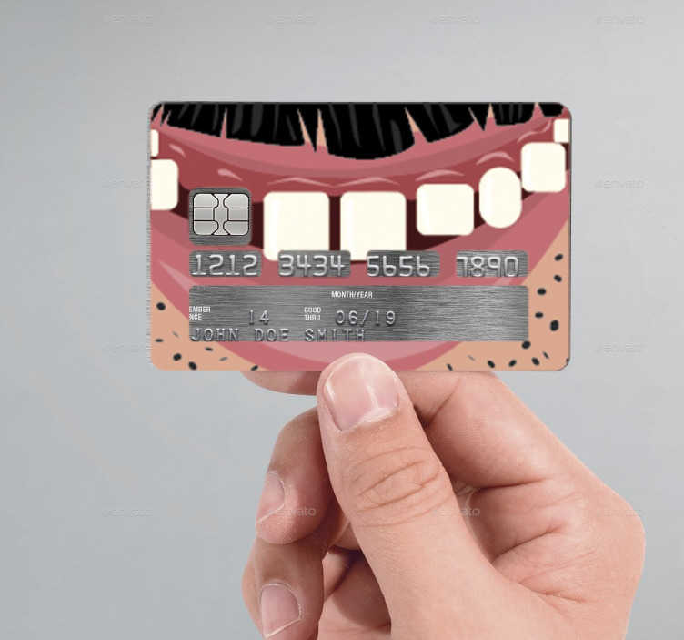 TenStickers. Man's Mouth Credit Card Sticker. If you're looking for an original and unique way to customise your credit/debit cards, look no further than this cartoon mouth credit card sticker!