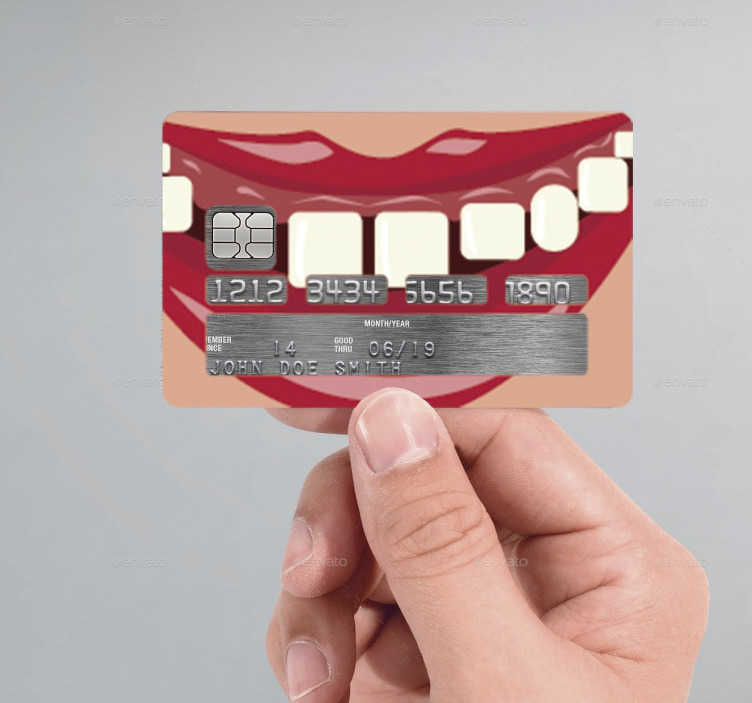 TenStickers. Autocolante cartão de crédito mulher dentes boca. Autocolante para poderes personalizar o cartão de crédito com o vinil de uma boca de mulher com dentes à mostra. Sticker para personalização.