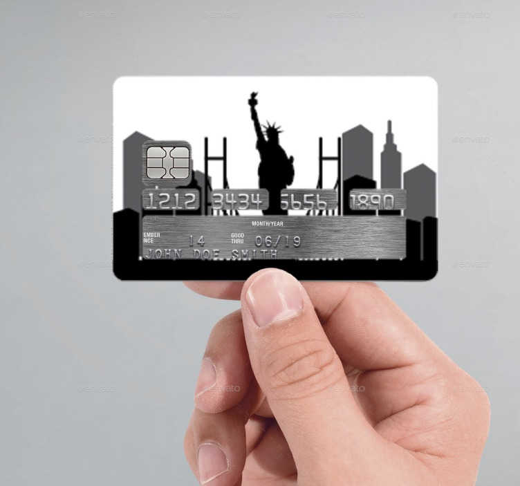 TenStickers. Autocolante cartão de crédito New York. Autocolante para poderes personalizar o cartão de crédito com o vinil da cidade de Nova Iorque. Sticker para personalização e decoração.