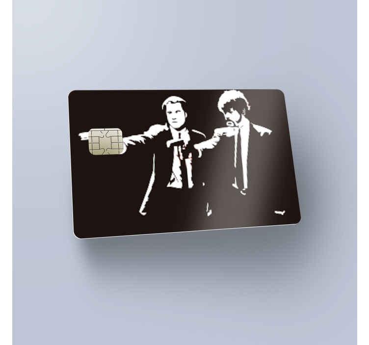 TenStickers. Autocolante cartão de crédito Pulp Fiction. Autocolante para poderes personalizar o cartão de crédito com o vinil do filme Pulp Fiction de Quentin Tarantino. Sticker para personalização.