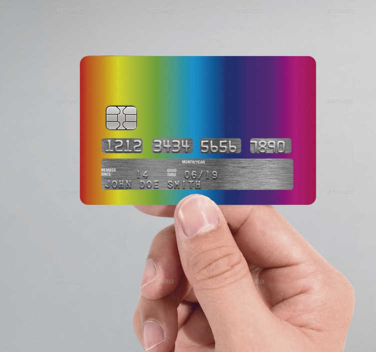 TenStickers. Rainbow Credit Card Sticker. This credit card sticker, consists of all the colours of the rainbow.