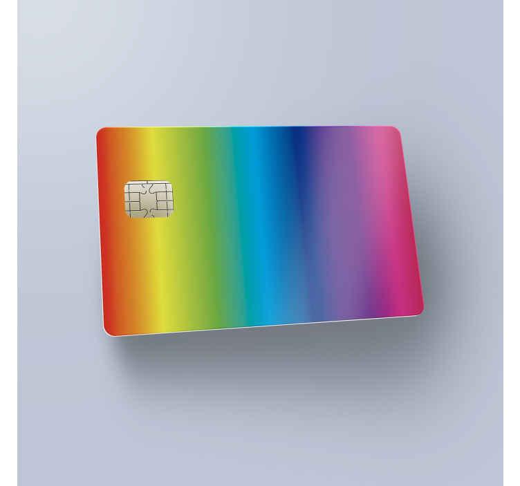 TenStickers. Kreditkartenaufkleber Regenbogen. Ausgefallenes Design für Ihre Kreditkarte. Verleihen Sie Ihrer Kreditkarte ein tolles Äußeres und verwandeln Sie sie in einen Regenbogen.