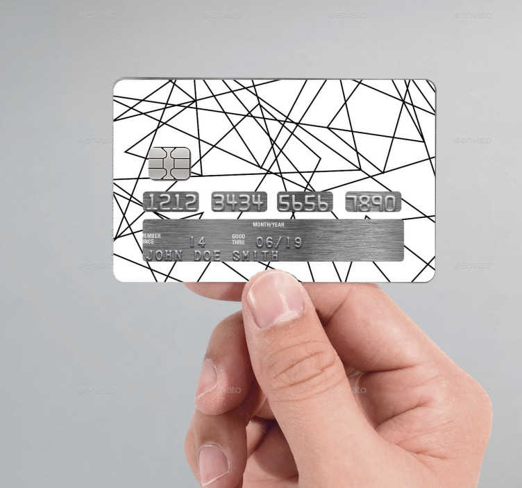 TenStickers. Zig-Zag lines credit card sticker. This sticker consists of various lines crossing over each other on a white background. The sticker is carefully cut to fit your card.
