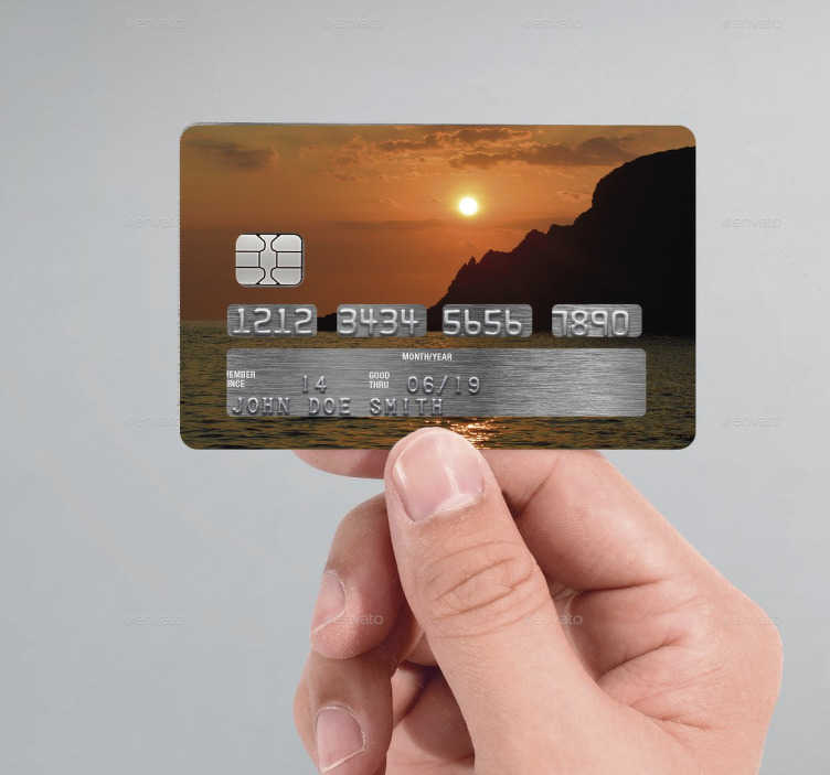 TenStickers. Water Sunset Credit Card Sticker. If you're looking for an original and unique way to customise your credit/debit cards, look no further than this peaceful sunset credit card sticker!