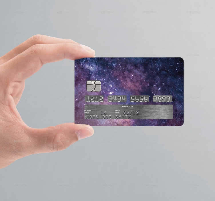 TenStickers. Universe Credit Card Sticker. If you're looking for an original and unique way to customise your credit/debit cards, look no further than this universe credit card sticker!