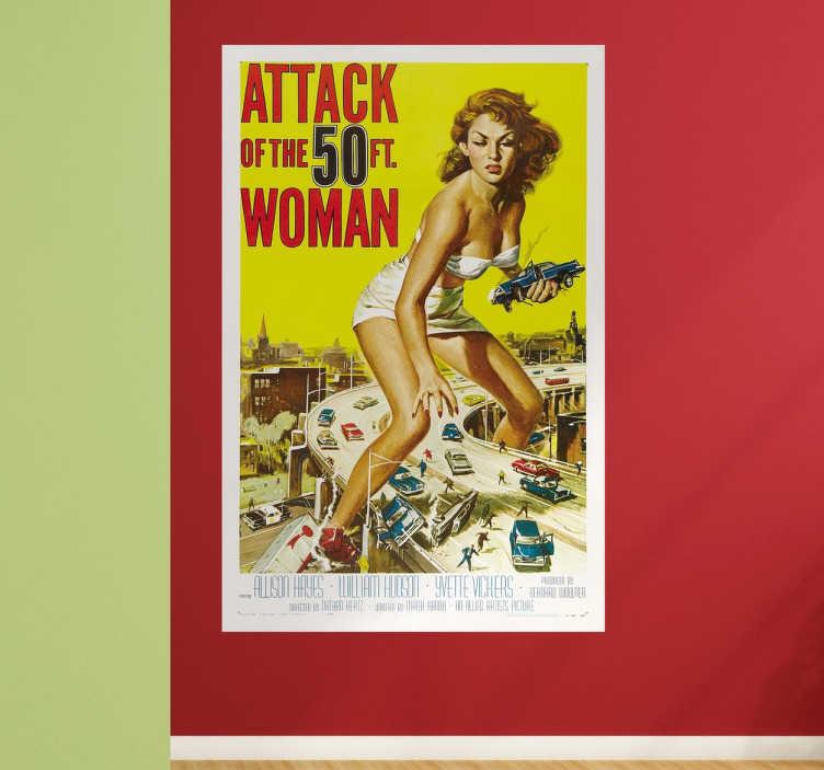 TenVinilo. Vinilo poster Attack of the 50 ft woman. Murales de pared con una representación de un cartel de película de serie B americana de los años 50.