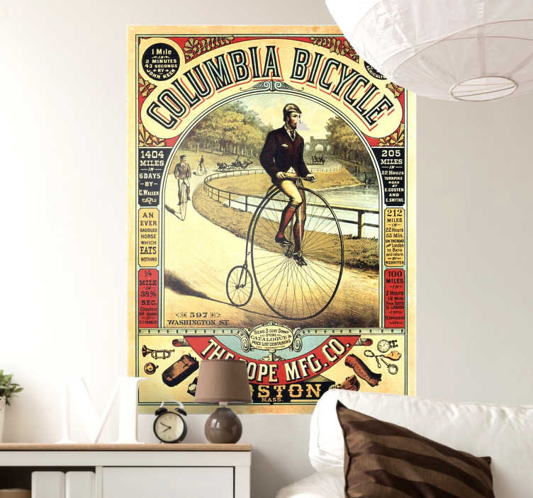 TenStickers. Adesivo poster antica bicicletta. Adesivo murale con l'illustrazione di un antico poster di biciclette ideale per decorare il soggiorno.Sticker murale per un tocco vintage.