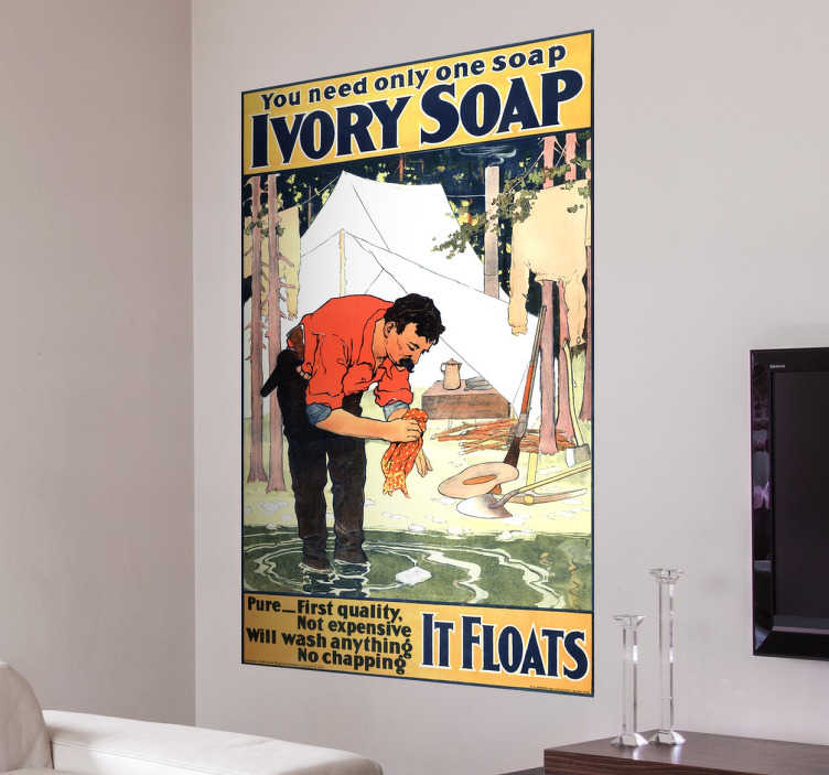 "TenStickers. Ivory Soap Vintage Poster Sticker. This decorative wall sticker in the design of a vintage ""Ivory soap"" poster is the perfect retro way to decorate any room in your home!"