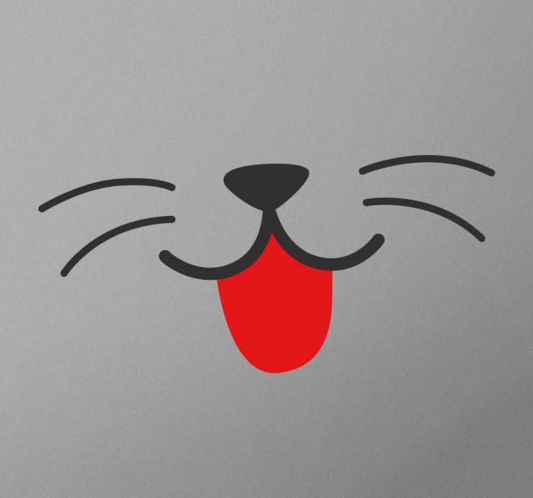 TenStickers. Vinil autocolante boca e nariz de gato. Adesivo decorativo de parede infantil com a representação de uma boca de um lindo gatinho ideal para os pequenos amantes de gatos.