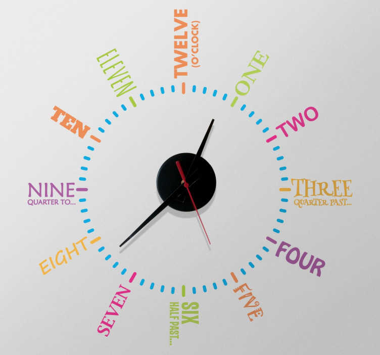 TenStickers. Wandtattoo Uhr englische Zahlen. Diese originelle und farbenfrohe Wandtattoo Uhr zeigt die Stunden auf Englisch an. Diese Uhr ist am Besten für das Kinderzimmer geeignet