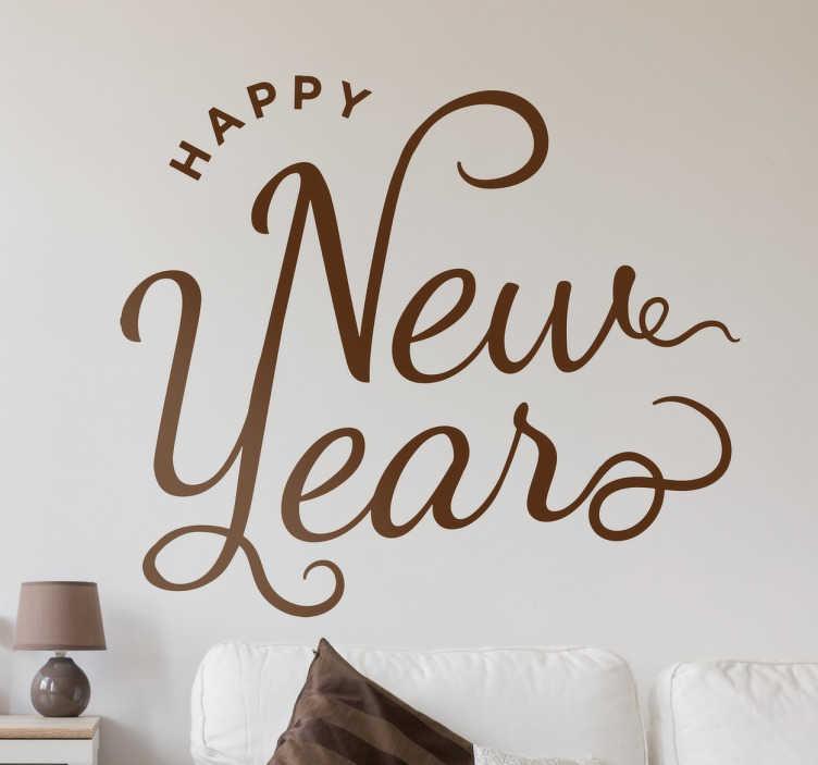 TenStickers. Autocolant de perete text fericit de anul nou. Aduceți noul an cu acest autocolant decorativ de perete! Perfect pentru sezonul festiv, deoarece acest autocolant este la fel de ușor de aplicat ca și îndepărtat!