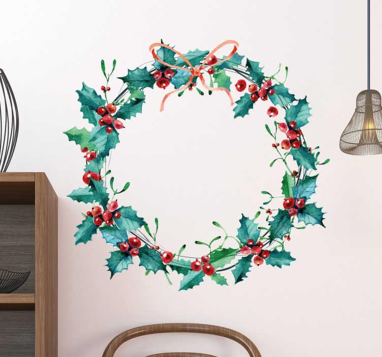 TenStickers. Sticker ornement floral Noel. Décorer pour Noël style ornement floral avec lequel vous pouvez créer un environnement idéal. Autocollants de Noël de couronne circulaire.