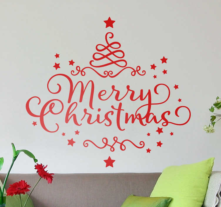 "TenStickers. Merry Christmas Wall Sticker. The Christmas wall sticker, consists of the text ""Merry Christmas"" written in an elegant font."