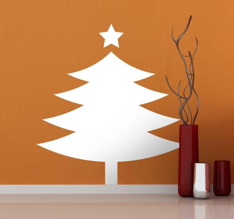 TenStickers. Vinil decorativo árvore ícone. Adesivos especialmente pensados para o próximo natal. Vinil autocolante de inspiração natalícia com um desenho simples com o perfil de um abeto.