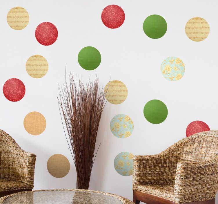 TenVinilo. Stickers topos circulares navidad. Lámina de pegatinas circulares especialmente pensadas para crear un ambiente idóneo estas fiestas.