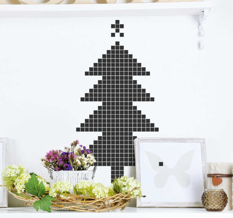 TenStickers. Pixel Art Christmas Tree Sticker. If you're looking for a futuristic and modern Christmas decoration, this decorative wall sticker is perfect for you!