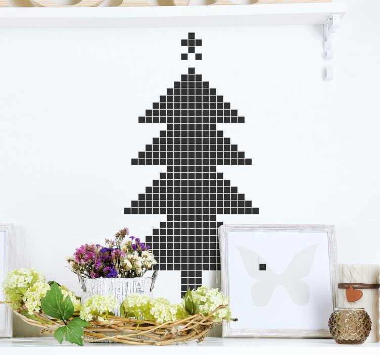 TenStickers. Naklejka świąteczna choinka pixel art. Nowoczesny projekt choinki wykonany z formacie pixel  idealny do dekoracji świątecznej Twojego domu lub biura