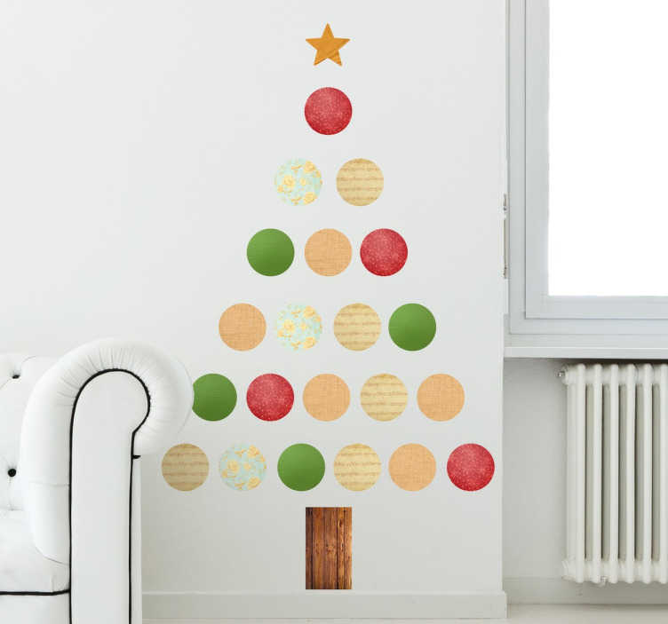 TenStickers. Christmas tree christmas wall sticker. Decorate your home this Christmas using this Christmas tree sticker. This amazing sticker uses all the Christmas colours, red, green and white!