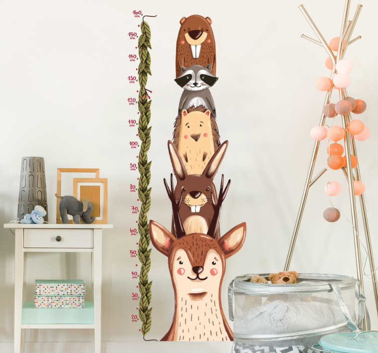 TenStickers. Wildlife Height Measurement Sticker. Decorate your wall with this original wall sticker that tracks how fast your children grow. Decorate your kid's bedroom or nursery