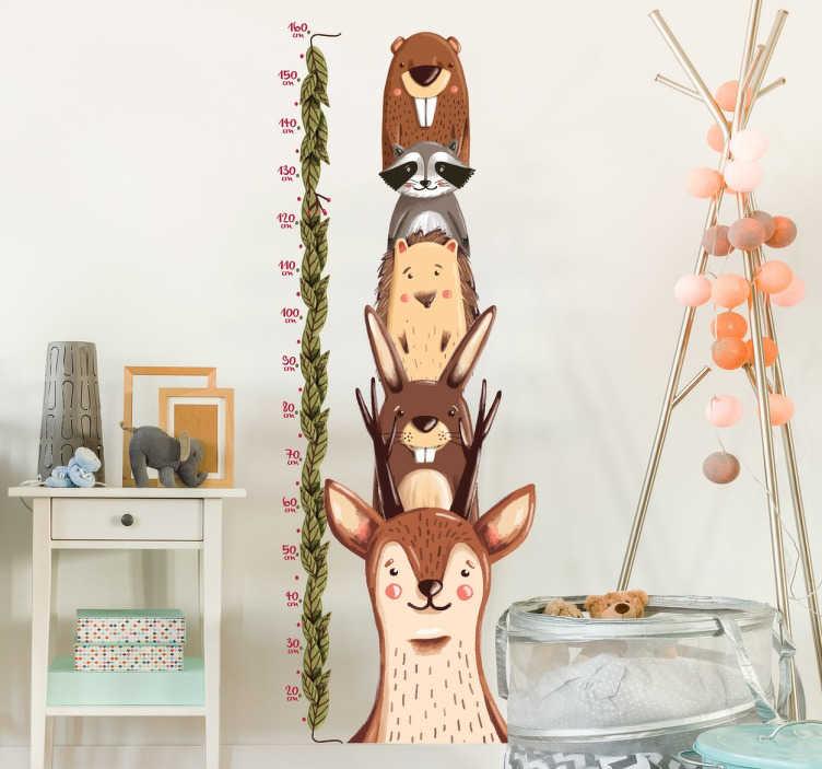 TenStickers. Wandtattoo Waldtiere Messlatte. Dekorieren Sie das Kinderzimmer mit unserem Wandtattoo Messlatte mit Waldbewohnern. Für jedes Kind mit bärenstarker Größe geeignet.