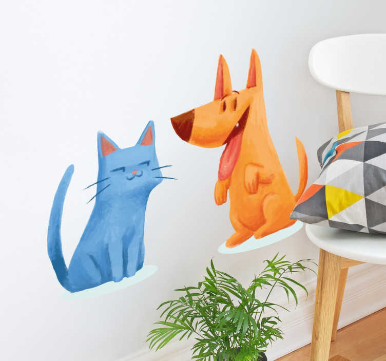 TenStickers. Cat and Dog Illustration Stickers. Break stereotypes and show that cat and dog can actually be best friends with this fun and original decorative wall sticker!