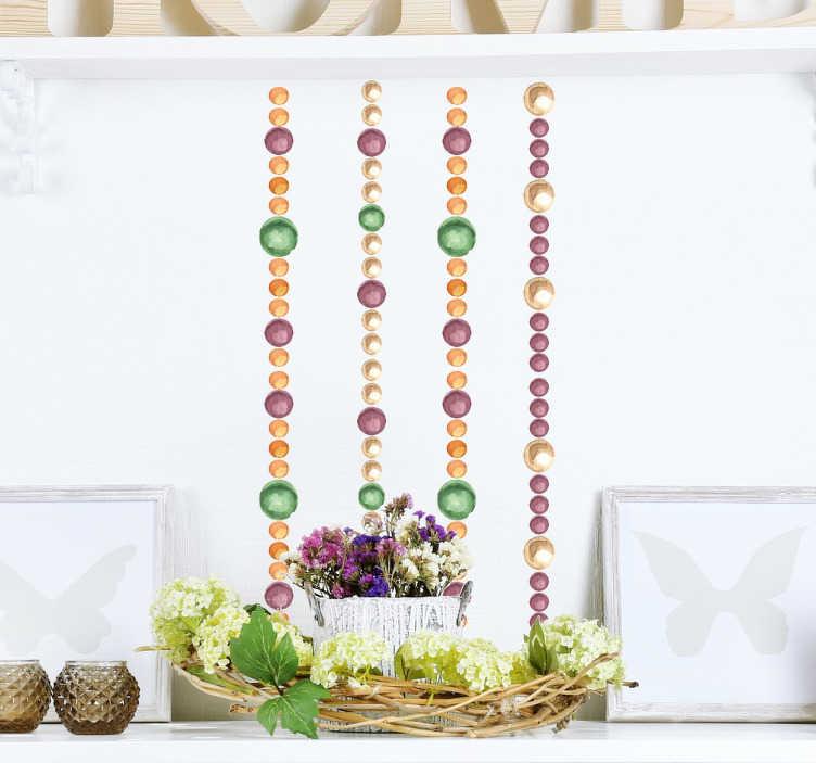 TenVinilo. Lámina stickers perlas acuarela. Decora tu pared con tiras de círculos de varios colores y tamaños que recuerdan a unas lujosas piedras preciosas.