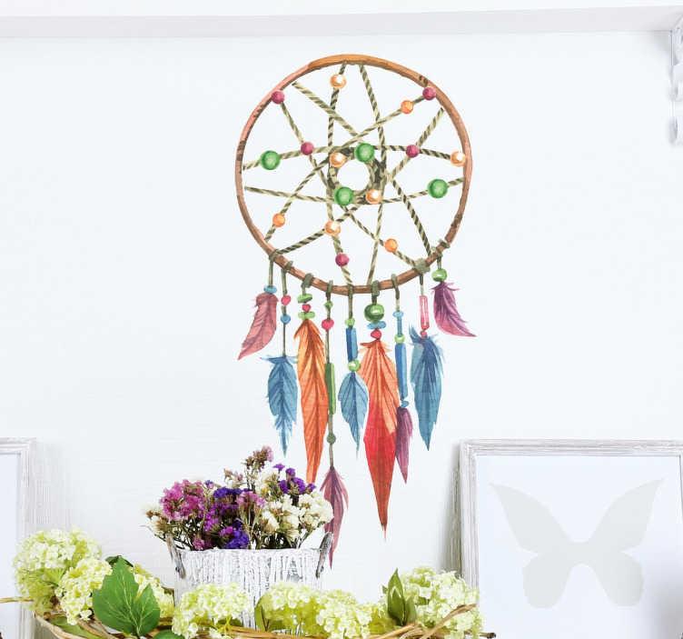 TenVinilo. Vinilo decorativo atrapasueños acuarela. Murales y vinilos para decoración con un amuleto indio que te protegerá de los malos espíritus.
