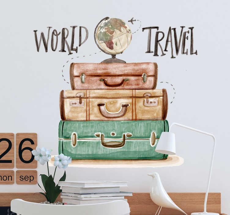 TenVinilo. Vinilo decorativo world travel. Vinilos de viajes con una original ilustración de equipaje amontonado y sobre él una bola del mundo.