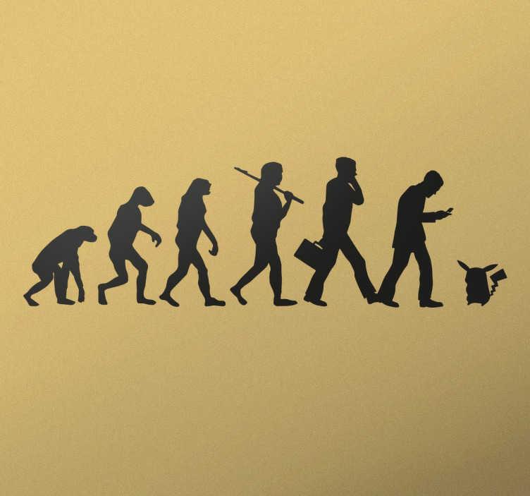 TenStickers. Naklejka ścienna Ewolucja człowieka do pokemona. Naklejka nawiązująca do japońskiej bajki Pokemon Go,która przedstawia ewolucję człowieka aż do pokemona.