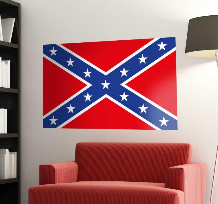 TenVinilo. Vinilo decorativo bandera confederada. Murales y vinilos con una reproducción del emblema sureño de Estados Unidos.