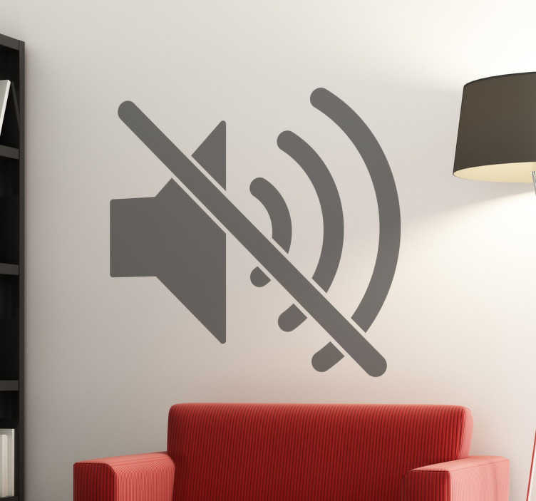 TenStickers. Silence Symbol Wall Sticker. If you like peace and quiet, or you're looking for a sign for your business, this is the perfect sticker for you! Featuring a muted loudspeaker symbol