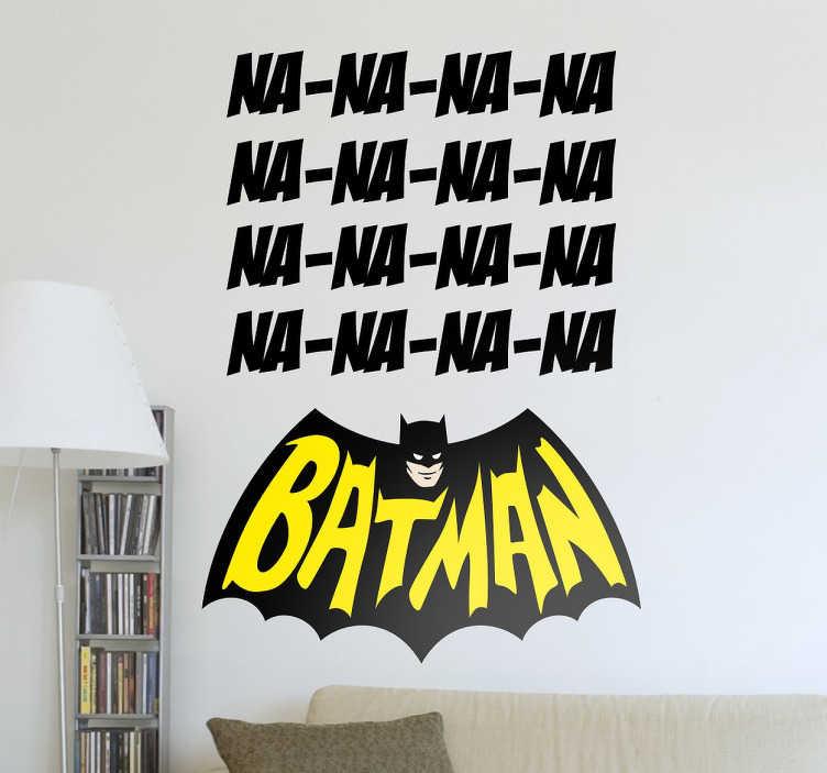 """TenStickers. Sticker Batman na na na. Un sticker Batman amusant sur lequel les lettres """"NA"""" apparaissent plusieurs fois, faisant référence au générique de la série des année 60."""