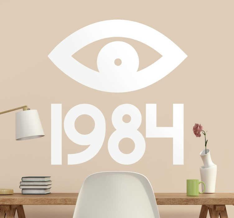 TenStickers. Vinil decorativo olho 1984 Orwell. Vinil decorativo do escritor britânico George Orwell. Adesivo de parede do olho do Big Brother do livro 1984.