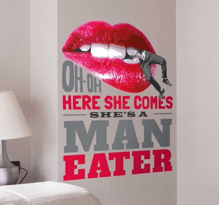 TenVinilo. Vinilo decorativo man eater. Vinilos decorativos musicales, con un diseño original y exclusivo basado en el tema «Maneater».
