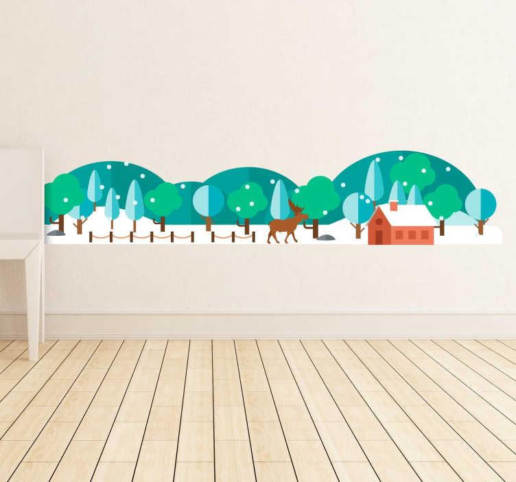 TenStickers. sticker forêt enneigée. sticker forêt et montagne enneigés applicable sur toutes surfaces