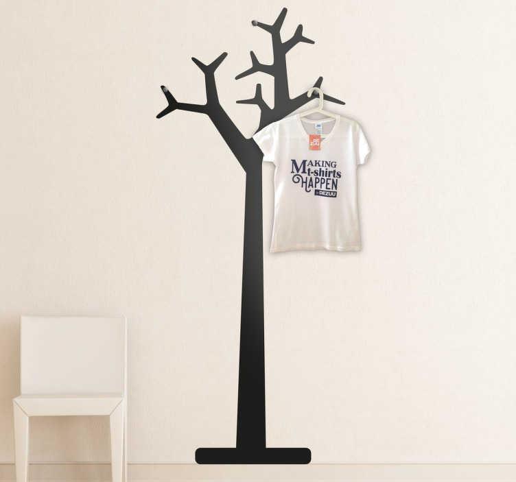 TenStickers. Vinil decorativo bengaleiro árvore. Vinil decorativo de um cabide para teres em casa. Adesivo de parede de uma árvore que permitem ser também bengaleiro.