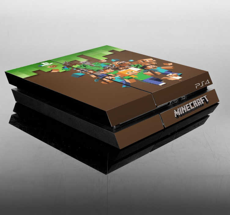 TenStickers. Naklejka PS4 Minecraft. Naklejka, która w wyjątkowy sposób odmieni wygląd Twojego PlayStation.