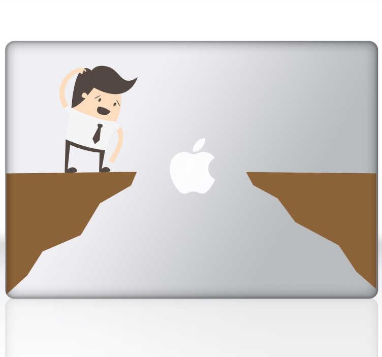 TenStickers. Sticker portátil salto no vazio. Dá um pouco de cor e animação ao teu computador portátil com este autocolante. Sticker de um homem sem saber se conseguirá saltar aquela distância.