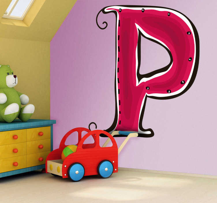 TenStickers. αυτοκόλλητο γράμμα p. διακοσμητικό αυτοκόλλητο του γράμματος σ. ξεκινά το όνομα του παιδιού σας με το p; ένα λαμπρό decal για να διακοσμήσετε το δωμάτιο του παιδιού σας.